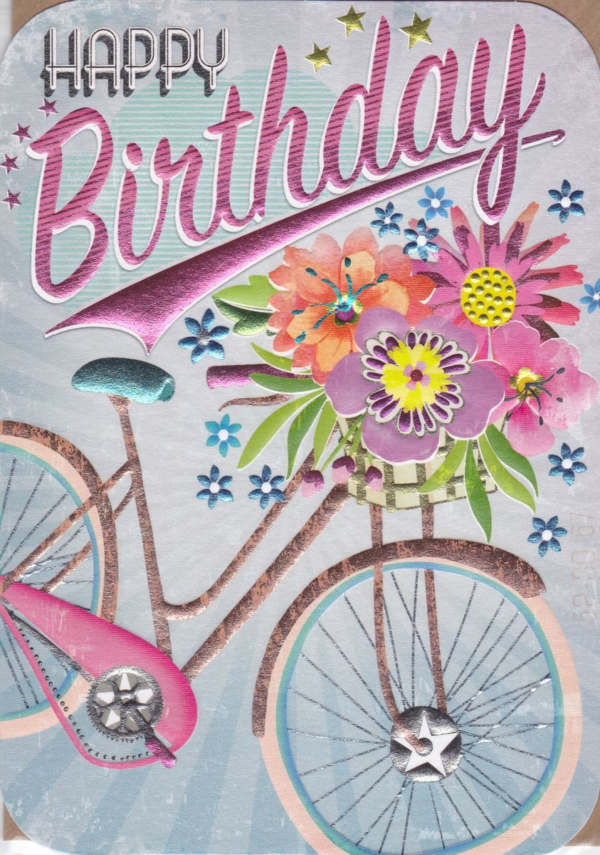 bicycle flowers birthday card karenza paperie