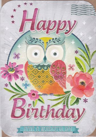 Owl,&,Flowers,Birthday,Card,buy owl birthday card for her online, buy birthday cards with owls online, buy bird birthday cards online, birthday cards with birds, owl birthday cards