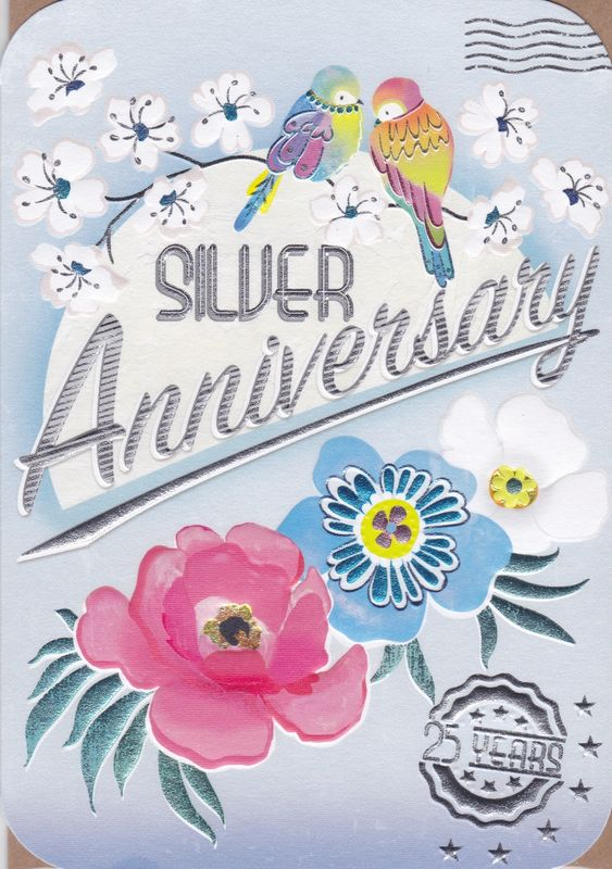 Birds & Flowers Silver Anniversary Card - product images