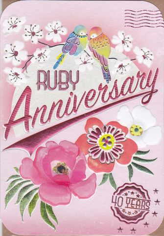 Birds,&,Flowers,Ruby,Anniversary,Card,buy ruby wedding anniversary card online buy card for 40th wedding anniversary online, fortieth wedding anniversary cards, cards for wedding anniversaries