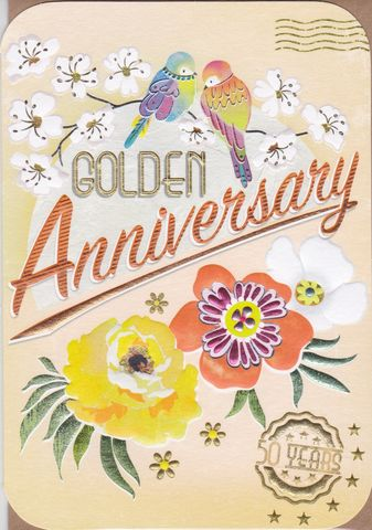 Birds,&,Flowers,Golden,Anniversary,Card,buy golden wedding anniversary card online, buy cards for 50th wedding anniversary online, cards for wedding anniversaries, gold anniversary card, fiftieth weding anniversary card