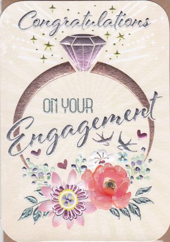 Engagement,Ring,&,Flowers,On,Your,Card,buy contemporary engagement cards online, buy cards for engagements online, engagement cards, congratulations on your engagement card, you are engaged card, on your engagement card