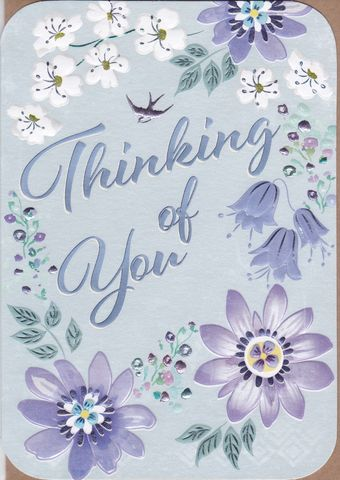 Blue,Flowers,Thinking,Of,You,Card,buy thinking of you card online, buy cards for thinking of you online, pretty thinking of you cards, friendship cards, warm wishes cards, sympathy cards, blue flowers thinking of you card