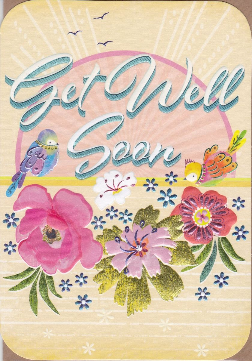 Birds Flowers Get Well Soon Card Karenza Paperie