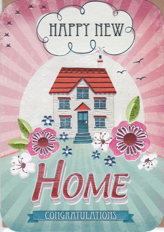 House & Flowers Happy New Home Card - product images
