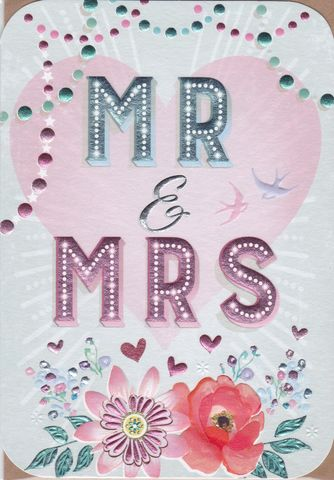 Mr,&,Mrs,Wedding,Day,Card,buy wedding day cards online, buy cards for weddings online, buy mr and mrs wedding day card online, contemporary wedding card, bride and groom wedding card, heart wedding cards, bird wedding cards, floral mr and mrs card