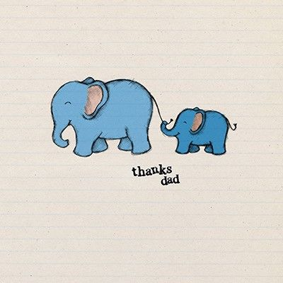 Elephants Dad Thank You Card - Perfect for Father's Day - product images