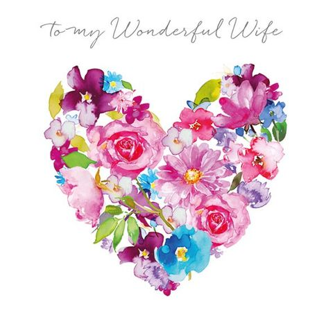 Floral,Heart,Wonderful,Wife,Anniversary,Card,buy wife anniversary cards online, wonderful wife aniversary card, cards for wedding anniversaries, wife anniversary card, special anniversary card for wife, heart, bouquet, flowers, floral