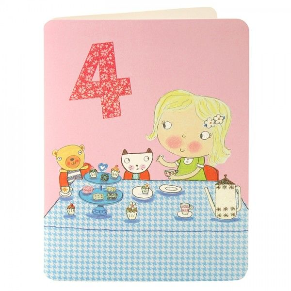 Girl & Tea Party Age 4 Birthday Card - product images