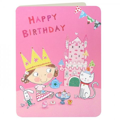 Tea,Party,and,Castle,Girls,Birthday,Card,buy birthday cards for children online, buy girls birthday card online, buy birthday cards for girls online, pretty pink birthday card for little girl, pink princess birthday card, tea party birthday card, pink princess castle birthday card, cat birthday