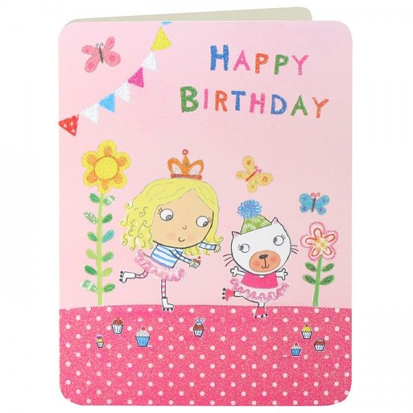 Girl and Cat Rollerskating Girls Birthday Card - product images