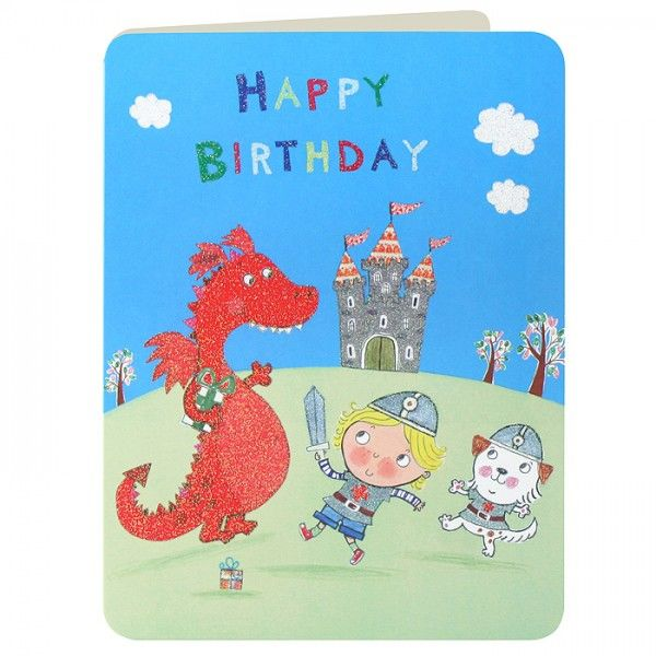 Knight & Red Dragon Boys Birthday Card - product images