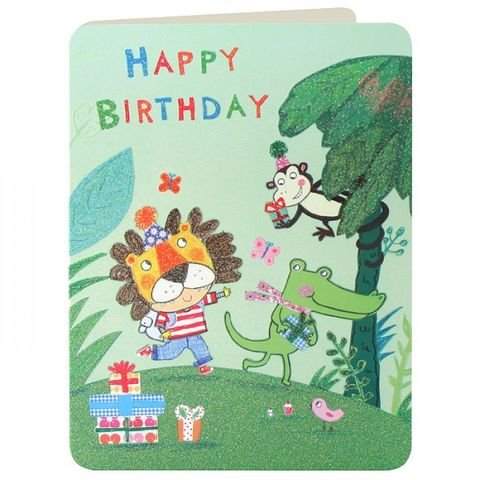 Jungle,Animals,Boys,Birthday,Card,buy birthday cards for children online, buy boys birthday card online, buy birthday cards for boys online, boys birthday cards with animal, boys birthday cards with monkey, jungle animals kids birthday card, crocodile birthday cards