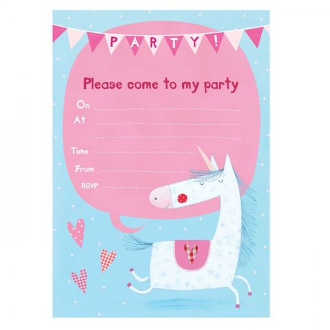 Unicorn,Party,Invitations,-,Pack,of,8,buy unicorn birthday party invitations online, buy party invites with unicorns online, buy girls birthday party invites online, unicorn party invitations and thank you cards, magical girls party invites,