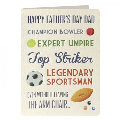 Sportsman,Father's,Day,Card,buy dad father's day cards online, buy fathers day cards online,  sports fathers day card, football dads day card, rugby sports cards for dads on father's day.