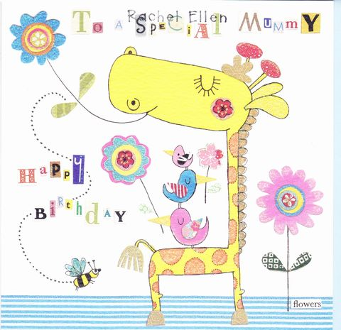 Giraffe,&,Birds,Special,Mummy,Birthday,Card,buy special mummy birthday card online, buy birthday card for mummies online,  buy birthday card for mummy online, mum birthday card, parent birthday cards, birthday cards for mums, giraffe birthday card for special mummy
