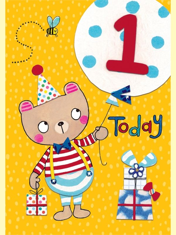 Teddy Bear & Balloon 1 Today Birthday Card - product images  of