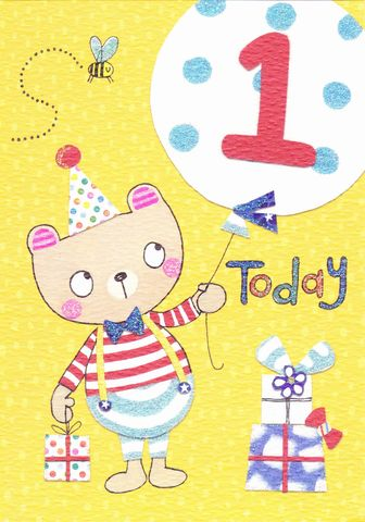 Teddy,Bear,&,Balloon,1,Today,Birthday,Card,buy 1st birthday card online for little boy, bear age one birthday card, rachel ellen 1st birthday card, teddy bear first birthday cards,