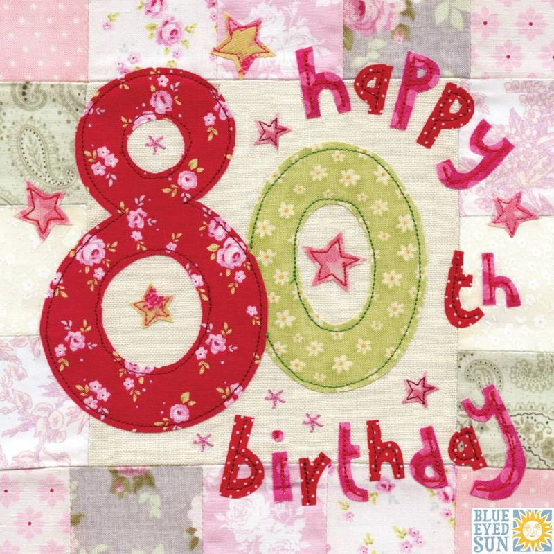 Happy 80th Birthday Card - Large, luxury birthday card - product images