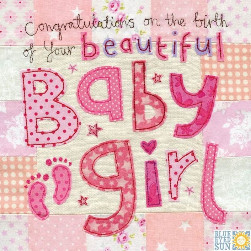 Congratulations on the birth of your beautiful Baby Girl Card - Large, luxury new baby card - product images