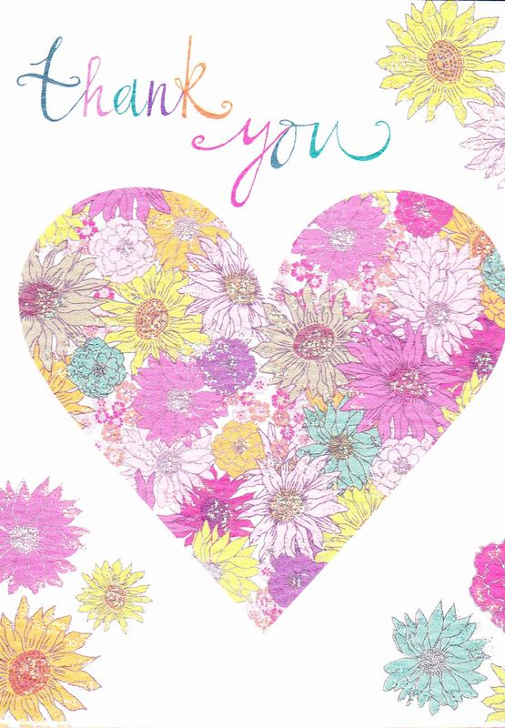 Rachel Ellen Pack of 5 Thank You Note Cards - Floral Heart Design - product images  of