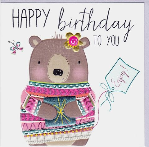 Bear,&,Present,Birthday,Card,buy female birthday cards online, buy birthday cards for her online, buy bear birthday card online, female birthday cards with bears, bear birthday card, birthday cards with animals, present birthday card