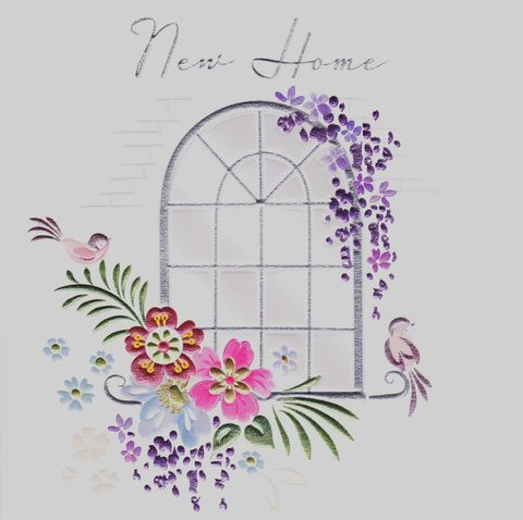 Window,&,Flowers,New,Home,Card,buy new home cards online, buy cards for new home online, buy new address cards online, window new home cards, flowers new homes cards, birds new home cards