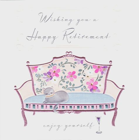 Cat,&,Sofa,Happy,Retirement,Card,buy happy retirement cards online, buy female retirement cards online, buy pretty retirement cards for her online, retirement cards with cats, cat on your retirement card, you are retiring card