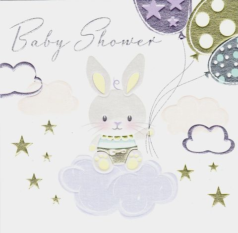 Bunny,Rabbit,&,Clouds,Baby,Shower,Card,buy baby shower cards online, buy cards for baby shower online, bunny rabbit baby shower cards, mum to be cards, parents to be cards, cards for maternity leave and baby showers