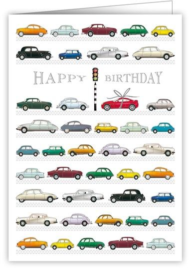 Cars Traffic Lights Birthday Card