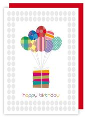 Birthday Balloons Presents Card