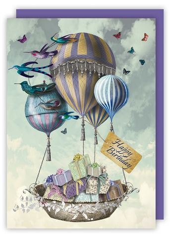 Balloons,&,Presents,Birthday,Card,buy hot air balloons birthday cards online, buy balloon cards online, buy balloon birthday cards for her online, buy bird birthday cards for her online, buy female birthday cards with butterflies online,