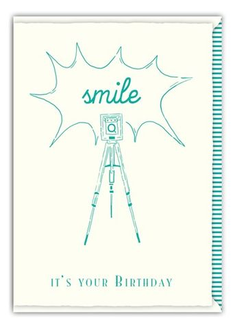 Letterpress,Camera,Birthday,Card,buy letterpress birthday cards online, buy birthday cards printed by hand on letterpress cards online, birthday cards for him, camera birthday cards for him, smile camera birthday cards for men