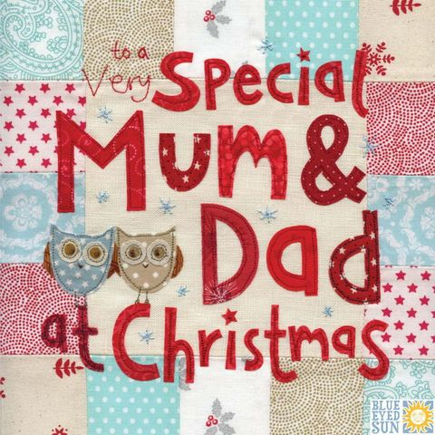 Mum,&,Dad,Owl,Christmas,Card,-,Large,,luxury,buy mum and dad christmas cards online, buy large christmas cards for parents online, buy luxury christmas card for mum and dad online