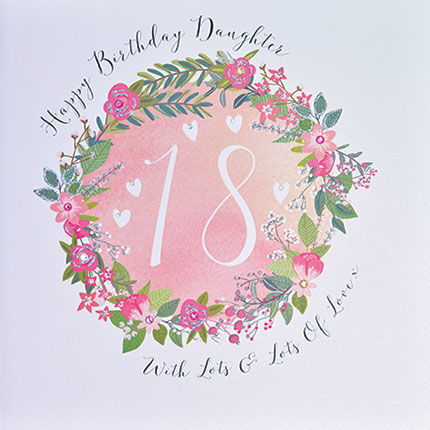 Daughter 18th Birthday Card - Large Luxury Birthday Card - product images  of