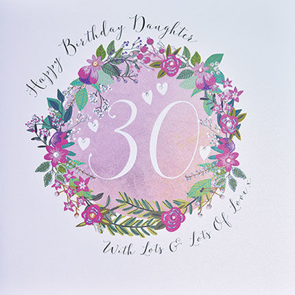 Daughter 30th Birthday Card - Large Luxury Birthday Card - product images  of