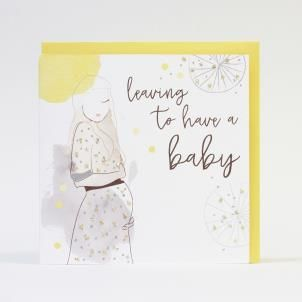 Leaving To Have a Baby Hand Painted Card - product images