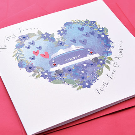 To My Fiancé With All My Love Card - Large, Luxury Valentine's Day Card - product images  of