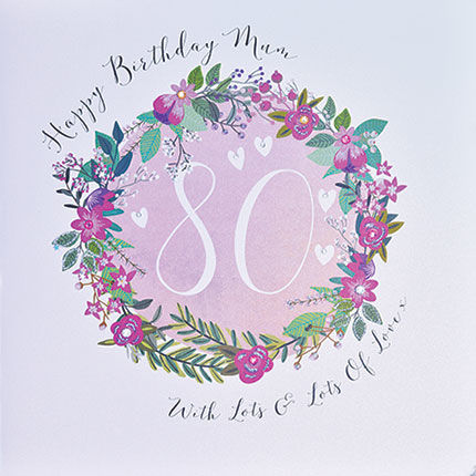 Mum 80th Birthday Card - Large Luxury Birthday Card - product images  of