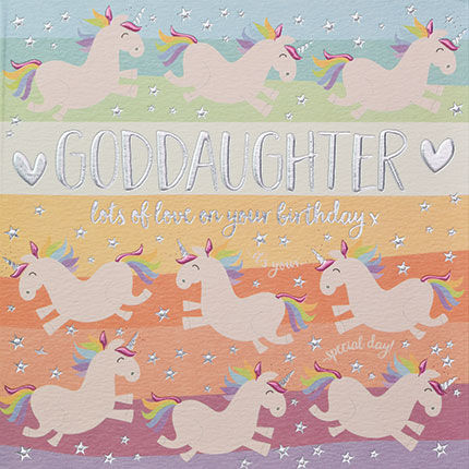 Goddaughter,Unicorns,Birthday,Card,buy goddaughter birthday card online, buy birthday cards for goddaughter online, buy god daughter card, buy godchild birthday cards online, card for godchild, godchildren cards, buy unicorn birthday cards online, buy birthday cards with unicorns online, g