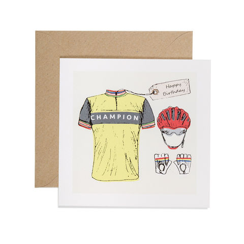 Hand,Printed,Cyclist,Birthday,Card,buy  cyclist birthday cards online, buy birthday cards for cyclists online, buy birthday cards for him with bike, buy vintage cycling birthday card online cycling clothes birthday card