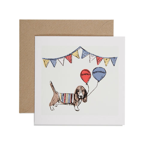 Hand,Printed,Dog,and,Balloons,Birthday,Card,buy dog birthday cards online, buy birthday cards for him online, buy birthday cards with dogs online, buy birthday cards for her online, buy basset hound birthday card online, dog cards, dog and balloon birthday cards