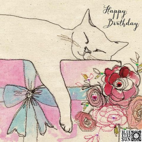 Sleeping,Cat,Birthday,Card,buy pretty birthday card for her online, buy birthday cards with cats online, buy birthday cards for her online, female birthday cards, girls birthday cards, floral birthday card, buy cat birthday card online,