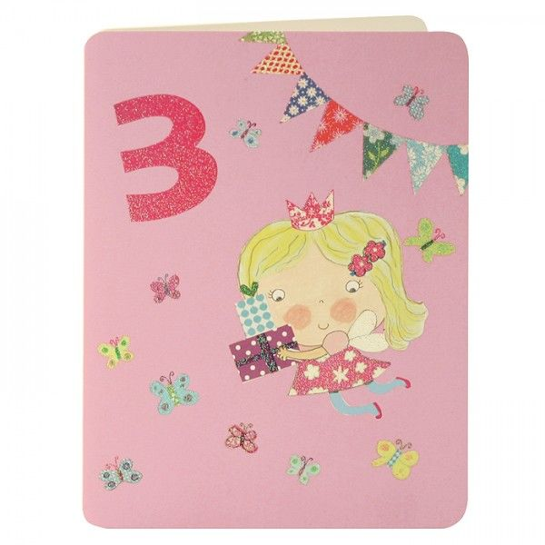 Fairy & Butterflies Age 3 Birthday Card - product images