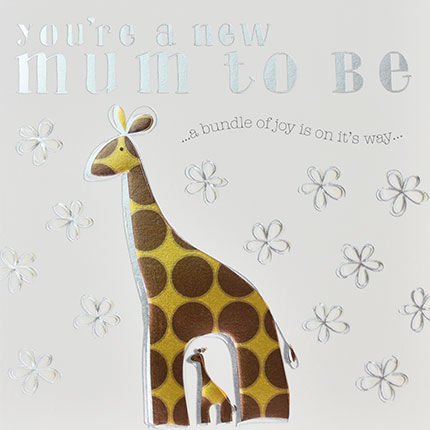 You're,A,New,Mum,To,Be,Giraffes,Card,buy giraffe mum to be card online, buy happy pregnancy cards online, buy mum to be card online, mum-to-be card, card for expectant mum, baby shower card, cards for baby showers, parents to be card, giraffe card