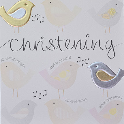 Hand,Finished,Birds,Christening,Card,buy christening card online, buy babys christening day card online, buy christening cards with birds online, christening day card, all creatures great and small card, all things bright and beautiful card, card for baby's christening, baby's christening da