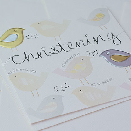 Hand Finished Birds Christening Card - product images  of