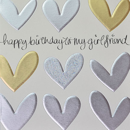 Gold,and,Silver,Hearts,Girlfriend,Birthday,Card,buy girlfriend birthday card online, buy birthday cards for girlfriends online, birthday card for girlfriend, girlfriend card, girl friend card, to the one i love birthday card
