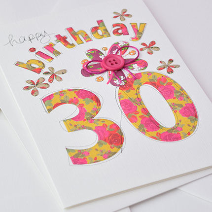 Hand,Finished,30th,Birthday,Card,buy female 30th birthday card online, buy age 30 birthday cards online, buy 30th birthday card online, buy floral 30th birthday card online, thirtieth birthday card with flowers, thirtieth birthday card, age 30 card, card for 30th