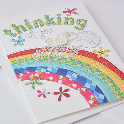 Hand,Finished,Rainbow,Thinking,Of,You,Card,buy thinking of you card online, sympathy card, warm wishes card, condolences card, deepest sympathy card, with sympathy card, thinking of you card